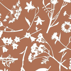 Wildflowers (Tossed) / Terracotta Background / Large Scale