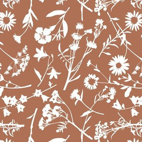 Wildflowers (Tossed)/ Terracotta Background / Small Scale