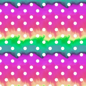 Rainbow neon watercolour ombre with white spots