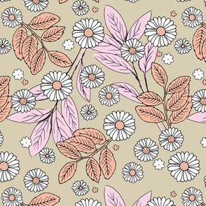 Messy daisie garden spring blossom and leaves in pastel colors fun botanical print beige pink peach
