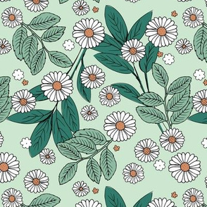 Messy daisie garden spring blossom and leaves in pastel colors fun botanical print mint green orange