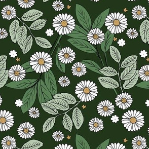Messy daisie garden spring blossom and leaves in pastel colors fun botanical print olive green white