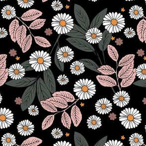 Messy daisie garden spring blossom and leaves in pastel colors fun botanical print black soft pink blush white
