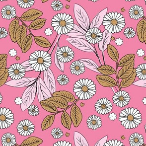Messy daisie garden spring blossom and leaves in pastel colors fun botanical print pink caramel white
