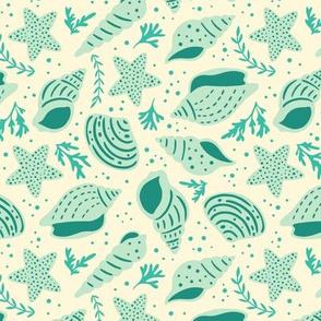 Seashells - Medium Scale Blue Cream
