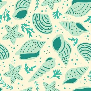 Seashells - Large Scale Blue Cream