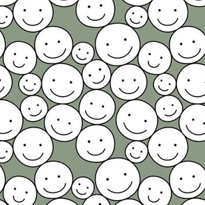Sweet stash if smiley icons cute boho happy faces moss green white black