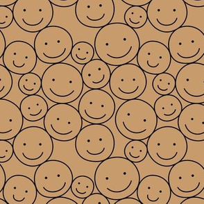 Sweet stash if smiley icons cute boho happy faces caramel brown