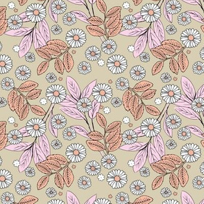 Messy daisie garden spring blossom and leaves in pastel colors fun botanical print beige pink peach  SMALL