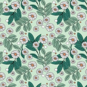 Messy daisie garden spring blossom and leaves in pastel colors fun botanical print mint green orange SMALL
