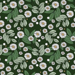 Messy daisie garden spring blossom and leaves in pastel colors fun botanical print olive green white SMALL