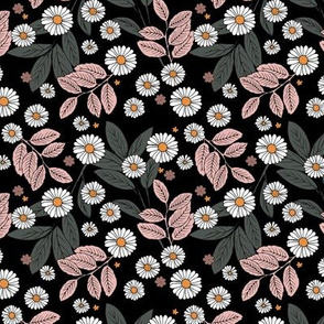 Messy daisie garden spring blossom and leaves in pastel colors fun botanical print black soft pink blush white SMALL