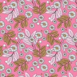 Messy daisie garden spring blossom and leaves in pastel colors fun botanical print pink caramel white SMALL