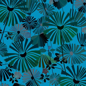 Moonlight Jungle, moody tropical flora, large scale