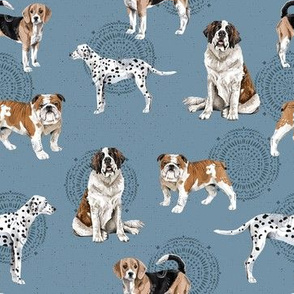 Dogs Dogs Dogs on Blue - Smaller