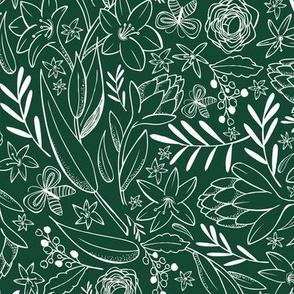 Botanical Sketchbook - Floral Forest Green