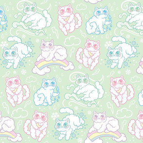 Kitty Clouds in Mint {Large}