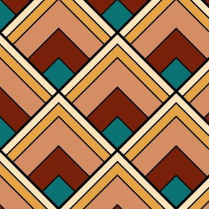 Fall Palette Art Deco diamond pattern
