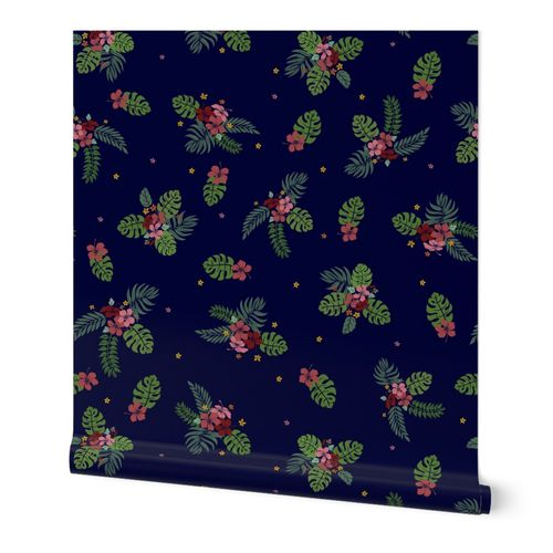 Aloha night time hawaii floral and leaf design on midnight blue
