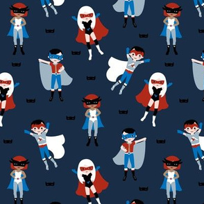 Cool super hero's boys and girls in capes and masks kids design on navy blue red