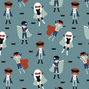 Cool super hero's boys and girls in capes and masks kids design on cool gray mint red