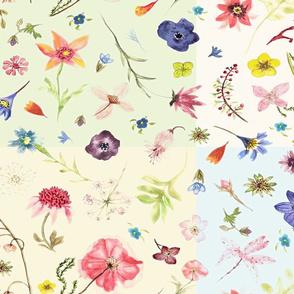 hand drawn flowers jumbo patchwork