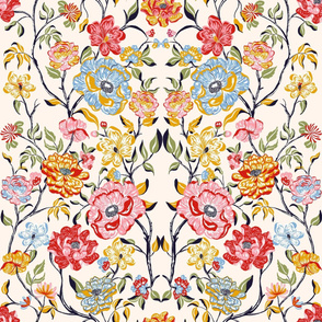 Symmetric  Floral_Beige