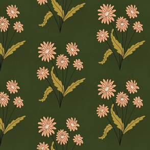 Gouache Florals - Peach and Olive Green