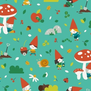 Life's sweet under the mushrooms - turquoise- large scale