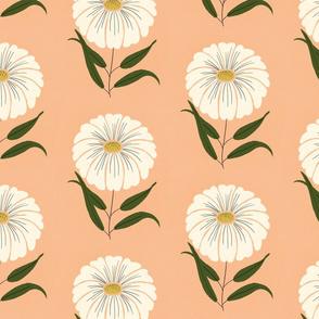 Gouache Daisy Florals - Peach and Cream
