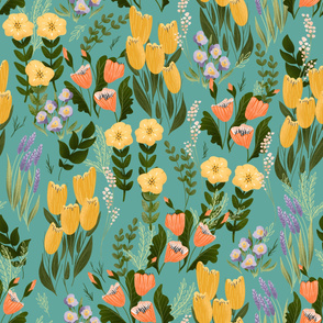 Summer Flowers - Large on Teal