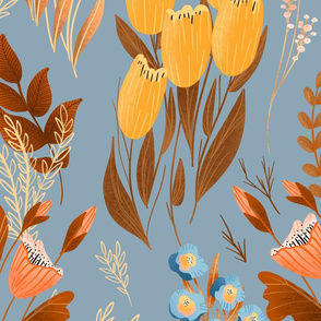 Summer Flowers - Large - Warm Tones on Blue