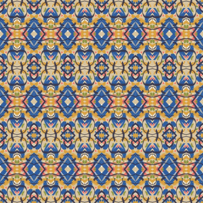 Blue-Gold-Salmon-Abstract Geo
