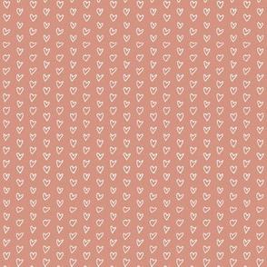Hand Drawn Hearts - Peach - Mini