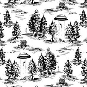 Small-Scale Black and White Alien Abduction Toile de Jouy