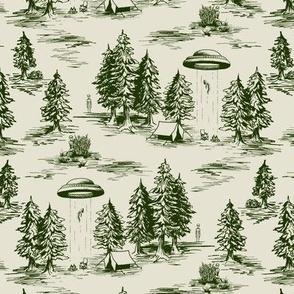 Small-Scale Forest Green & Cream Alien Abduction Toile de Jouy