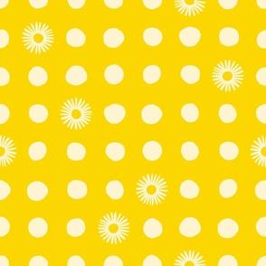 Yellow Polka Daisy Dots