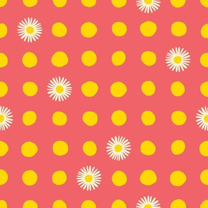 Yellow Polka Daisy Dots on Coral