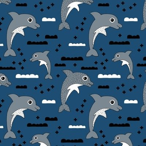 Dolphins playing in the water sweet sea life ocean and waves kids design navy blue gray
