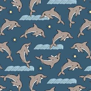 Dolphin ocean sunshine and waves kids hand drawn sea illustration theme navy blue gray