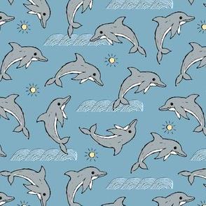 Dolphin ocean sunshine and waves kids hand drawn sea illustration theme blue gray