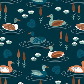 Little ducks swimming in a pond with lilies and riet spring animals minty blue green navy night