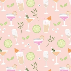 Sweet summer drinks prosecco long island ice tea and margarita party pastel blush pink orange mint