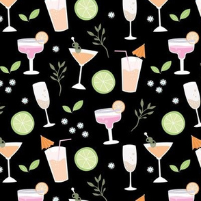 Sweet summer drinks prosecco long island ice tea and margarita party black pink orange mint