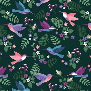 Romantic hummingsbirds jungle garden banana leaves and flowers tropical summer birds design for kids green lilac fuchsia on emerald