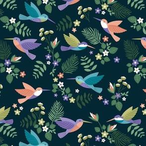 Romantic hummingsbirds jungle garden banana leaves and flowers tropical summer birds design for kids green blue lilac blush mustard on navy blue