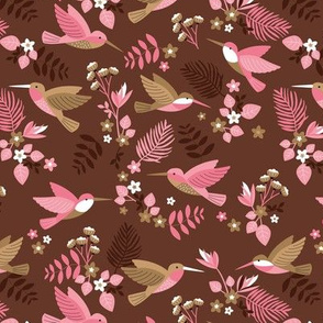 Romantic hummingsbirds jungle garden banana leaves and flowers tropical summer birds design for kids maroon pink caramel girls