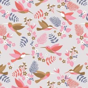 Romantic hummingsbirds jungle garden banana leaves and flowers tropical summer birds design for kids pink on gray