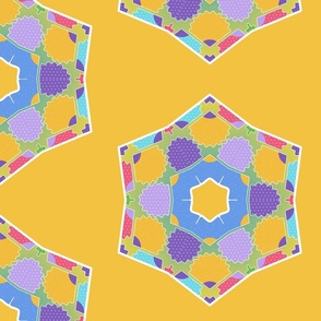 Large Rainbow Hexagons On Yellow