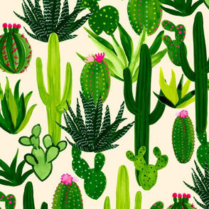 large-scale blooming cacti pattern